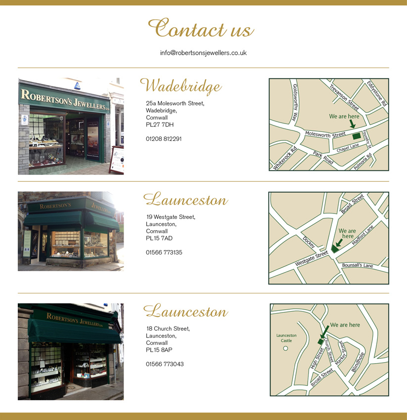 contact us at Robertson's Jewellers Ltd